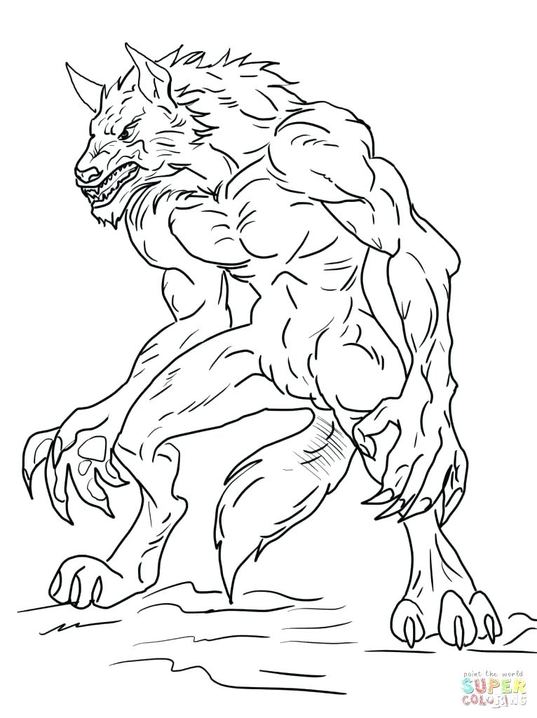 766x1024 Goosebumps Coloring Pages Werewolf Coloring Page Werewolf Coloring