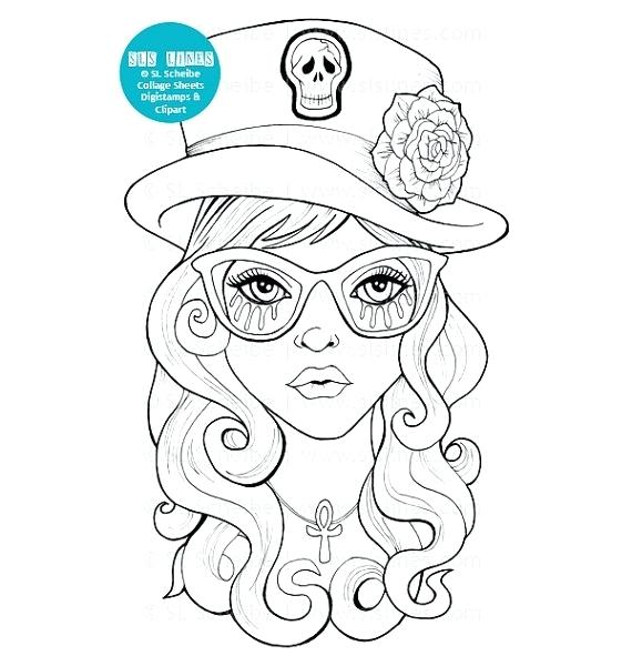 570x591 Goth Coloring Pages Goth Girl Digital Stamp With Top Hat Cute Goth