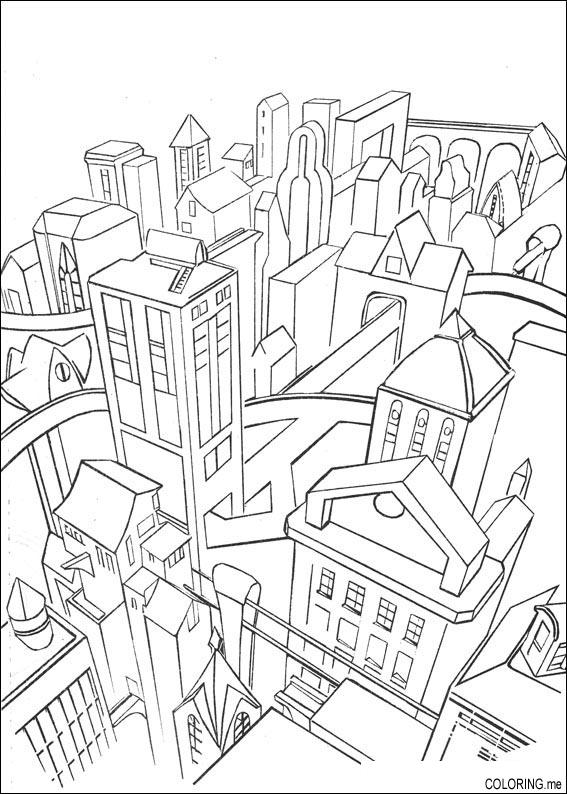 567x794 Coloring Page Gotham City