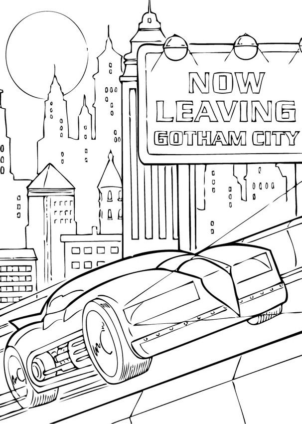 606x850 Enjoy Coloring The Batmobil In Gotham City Coloring Page! More