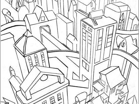 567x425 City Building Coloring Pages Gotham City Batman Coloring Pages
