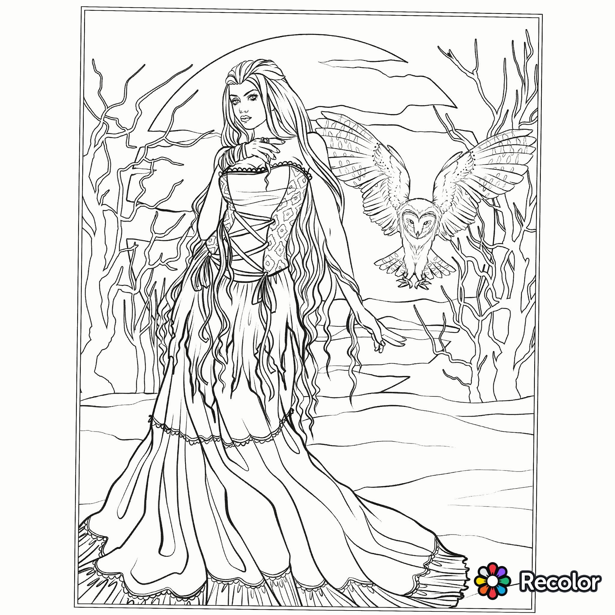 2048x2048 Halloween Gothic Coloring Page Fantasy Coloring Pages For Adults