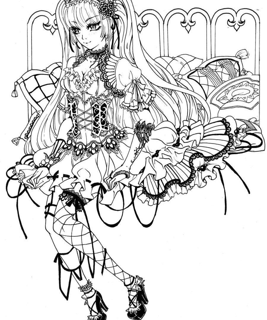 900x1080 Marvelous Gothic Fairy Coloring Page Printable Adult Goth Image