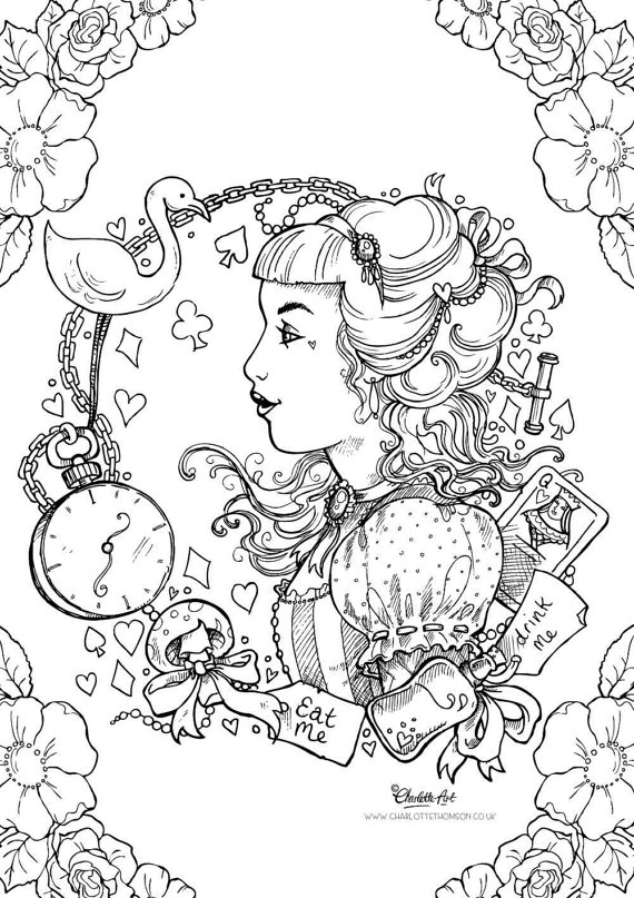 570x807 Adult Colouring Page Alice In Wonderland Gothic Lolita Kawaii