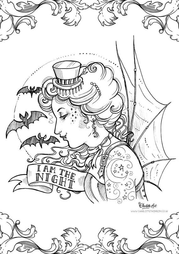 570x807 Adult Colouring Page Steampunk Gothic Victorian Vampire Halloween