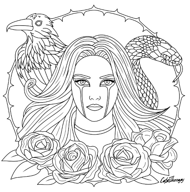 609x616 Halloween Gothic Coloring Page To Color With Color Therapy Http