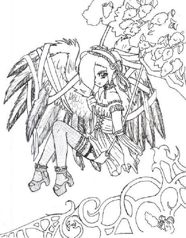 600x767 Free Gothic Coloring Pages For Adults Goth Anime Coloring Pages