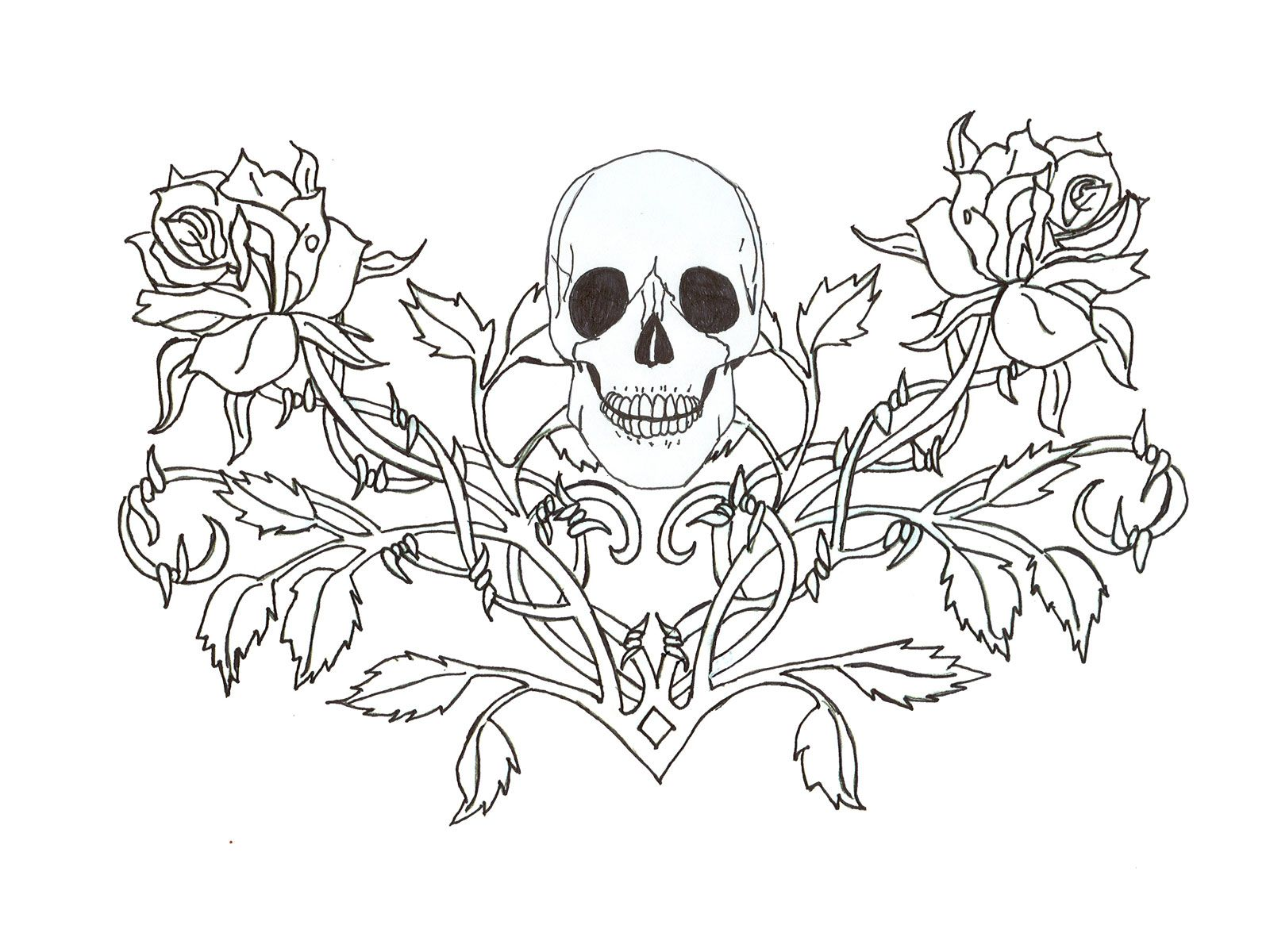 1600x1200 Gothic Skull Tattoo Wallpaper Coloring Pages For Adults