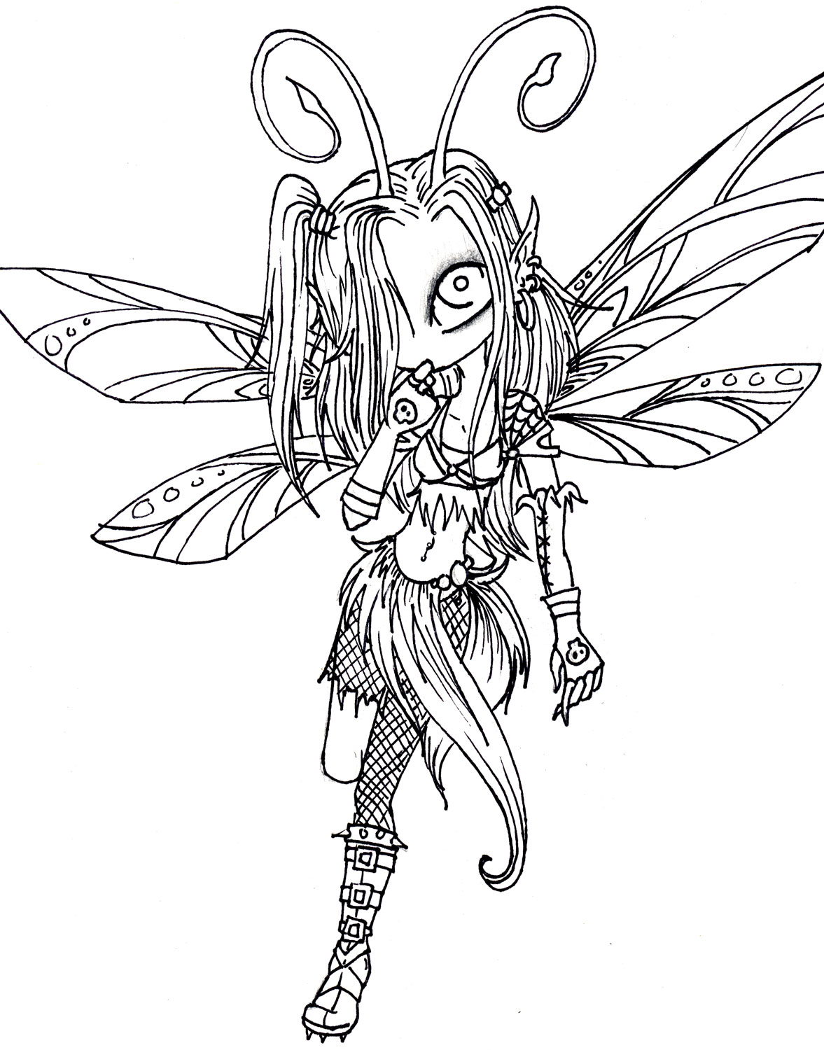 1177x1500 In Goth Fairy Coloring Pages For Adults