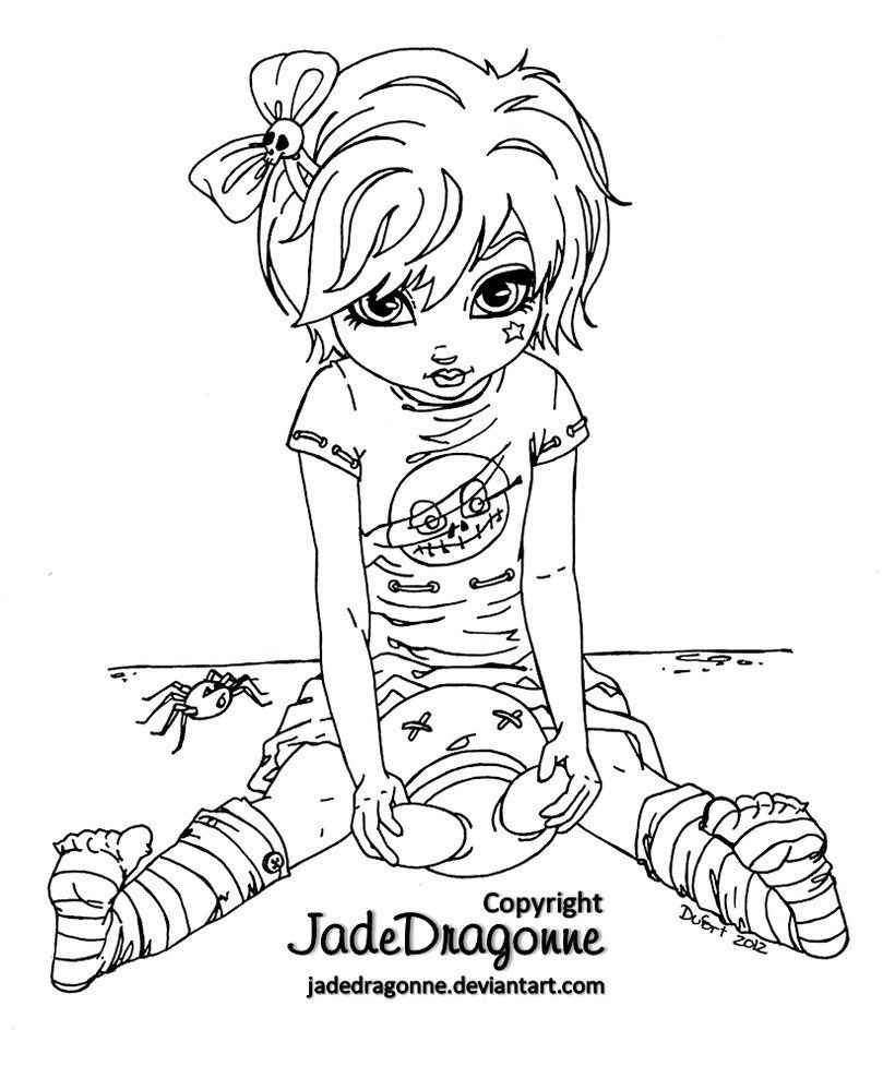 809x988 Marvelous Gothic Doll Lineart