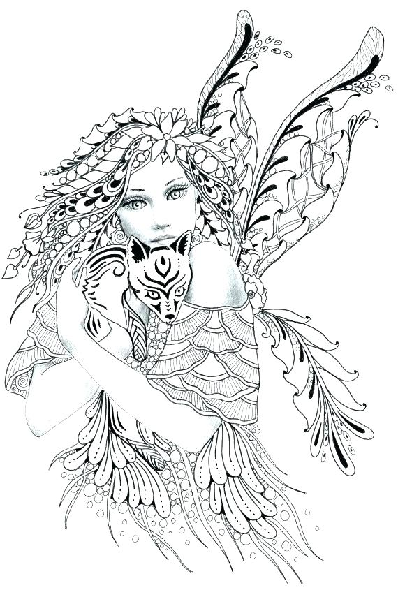 570x855 Detailed Fairy Coloring Pages Detailed Coloring Pages Printable