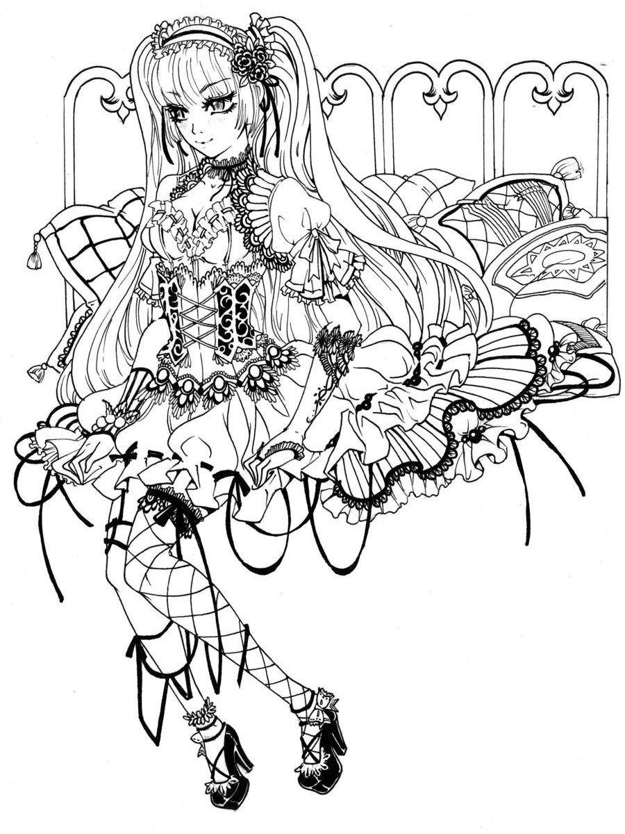900x1200 Best Gothic Fairy Coloring Page Printable Adult Goth For Styles