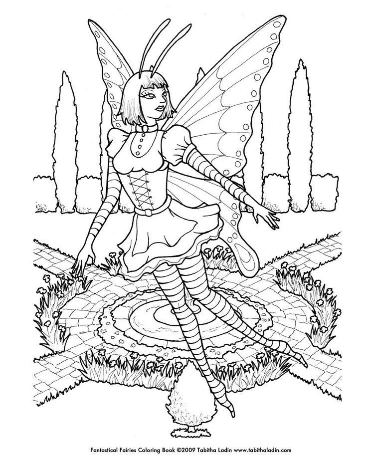 Gothic Fairy Coloring Pages Printable