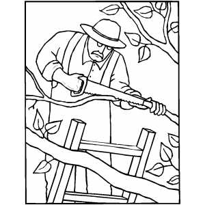 300x300 Gardener Sawing Tree Branches Coloring Page