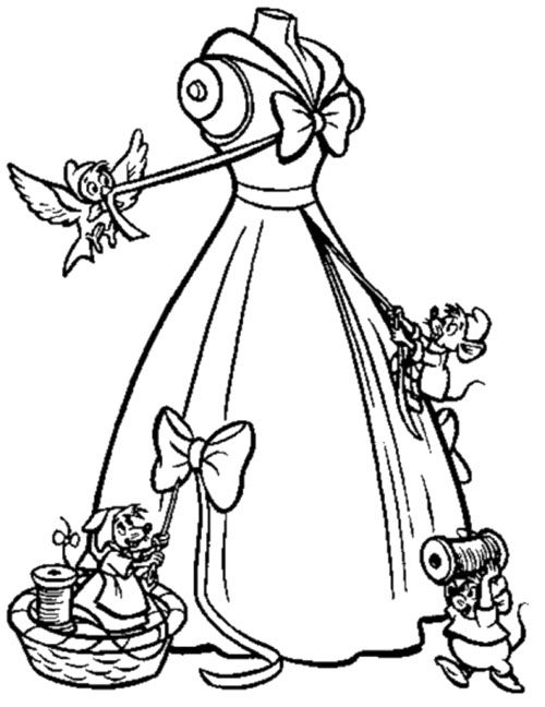 500x648 The Mice Help Cinderella To Make Her Gown Coloring Page