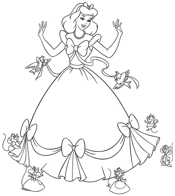 728x814 Cinderella Coloring Pages Cinderella And Her Beautiful Gown