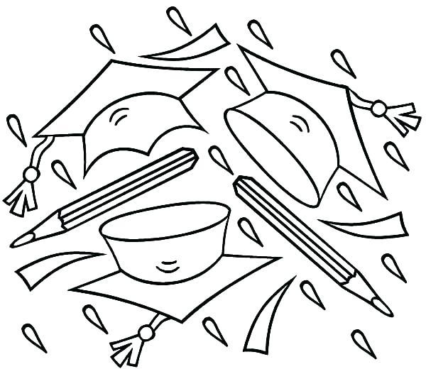 600x520 Graduation Coloring Pages Printable Graduation Hats Coloring