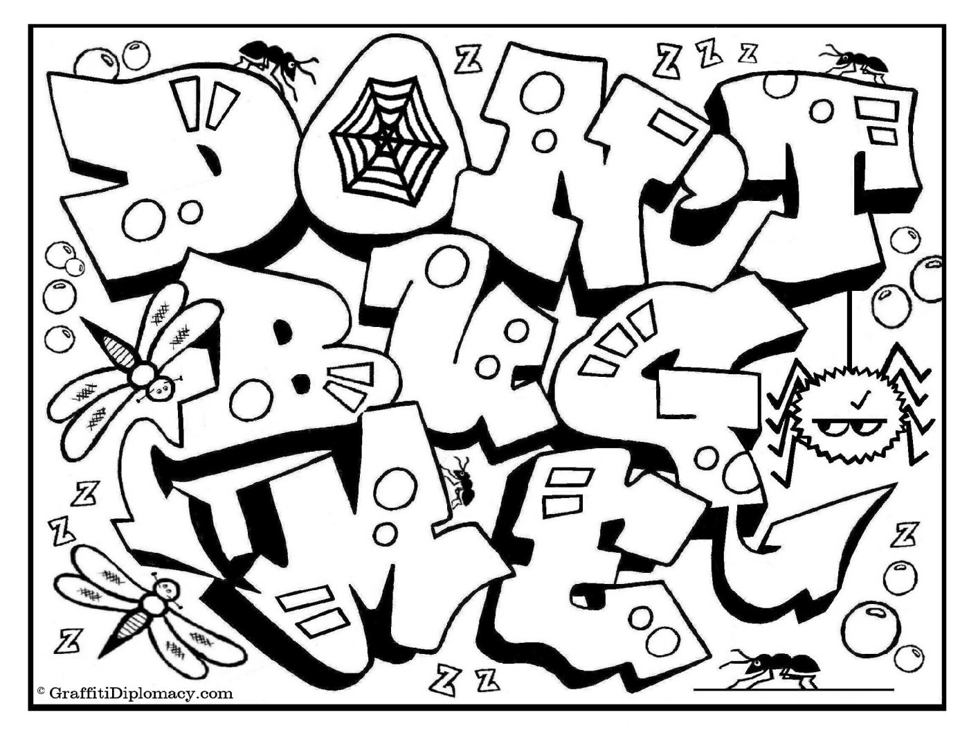 1400x1061 Graffiti Coloring Pages For Adults Names Online Letters Colouring
