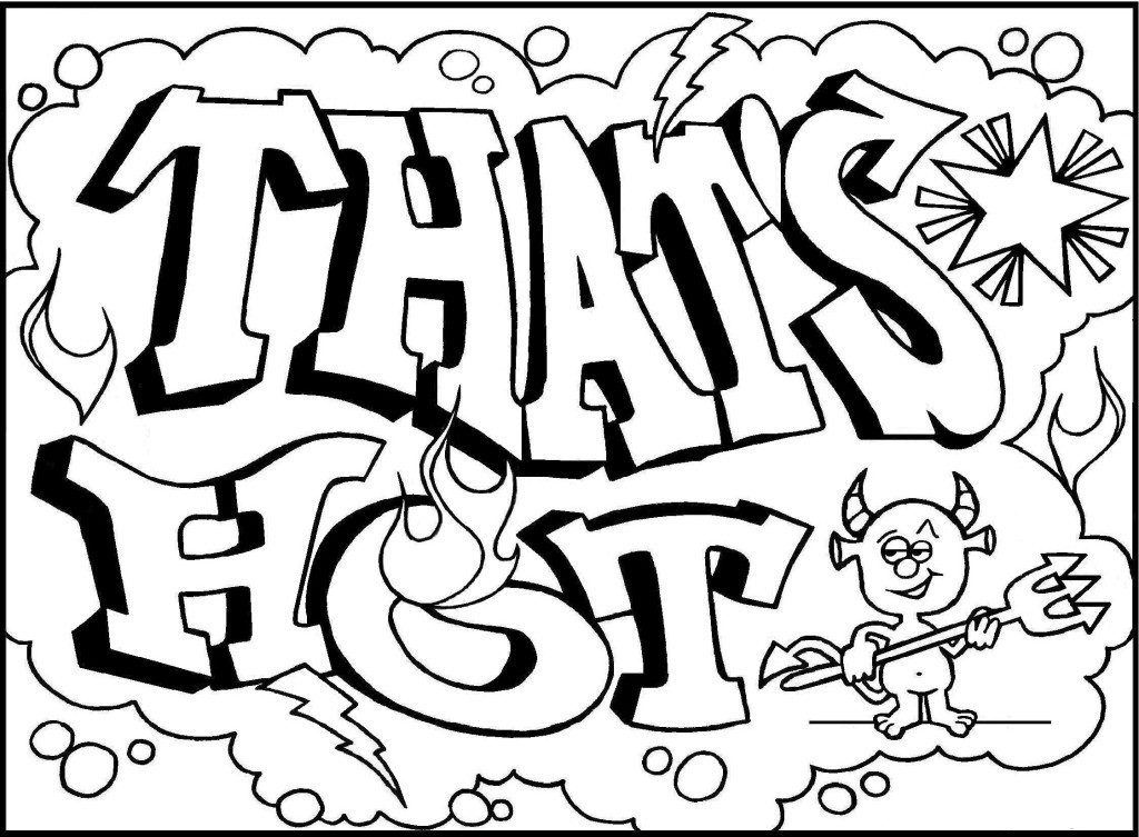 1024x753 Cool Graffiti Words Coloring Pages