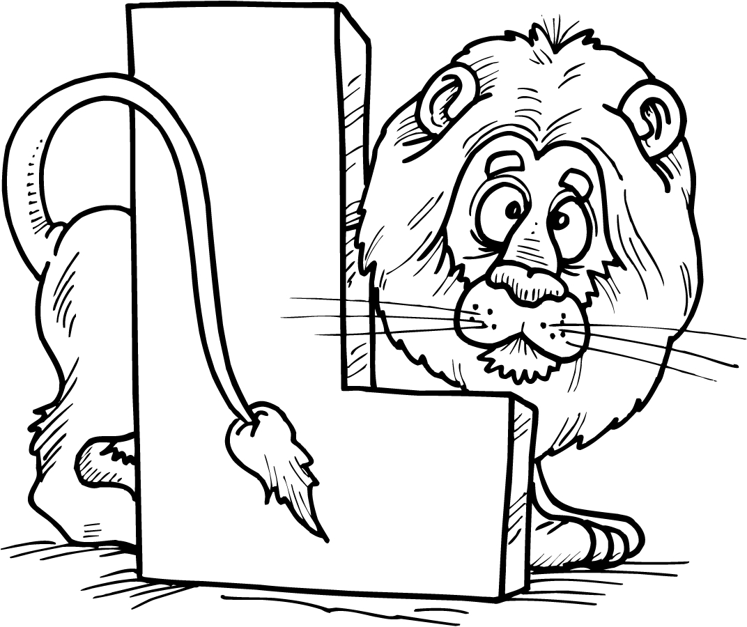 1072x900 Colouring Page Of Letter L With A Lion