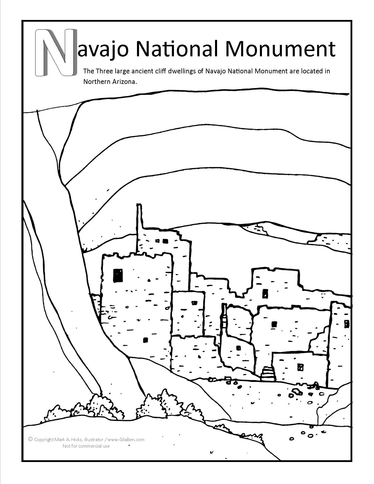 1275x1650 Navajo National Monument Coloring Page