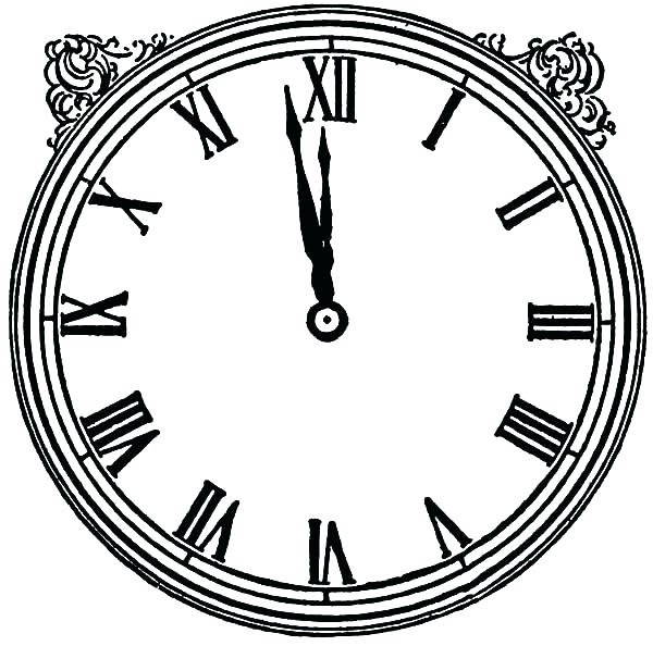 600x594 Clock Coloring Page Good Clock Face Coloring Page And Vintage