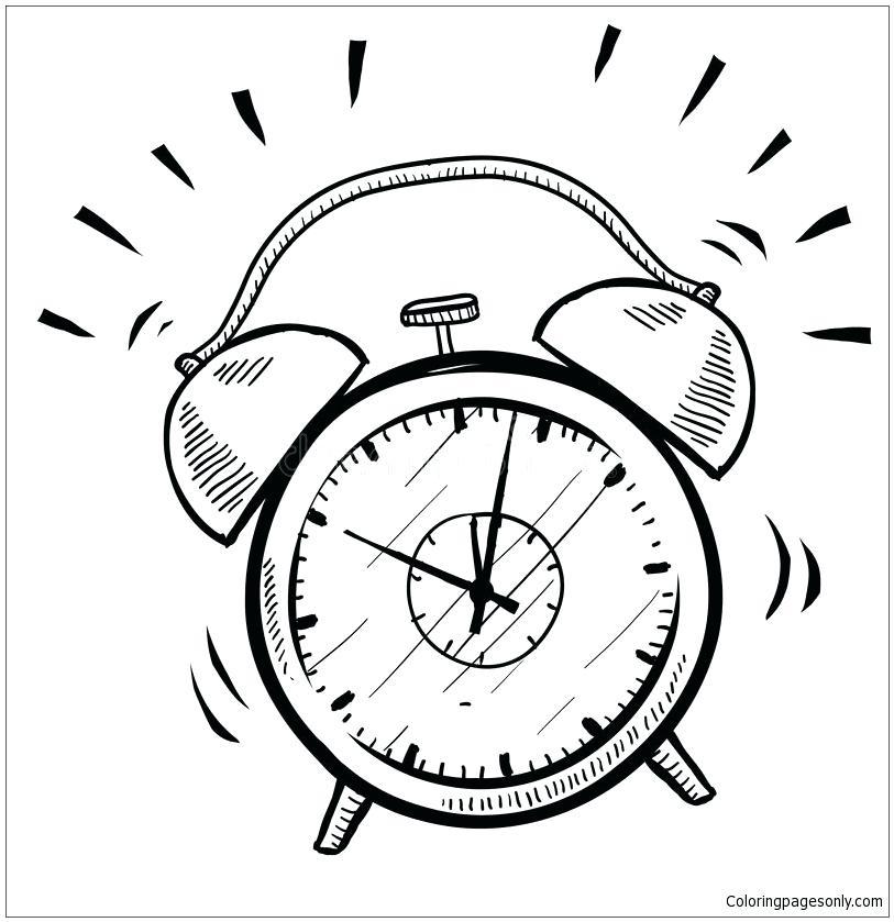 813x839 Clock Coloring Page Retro Alarm Clock Coloring Page Grandfather