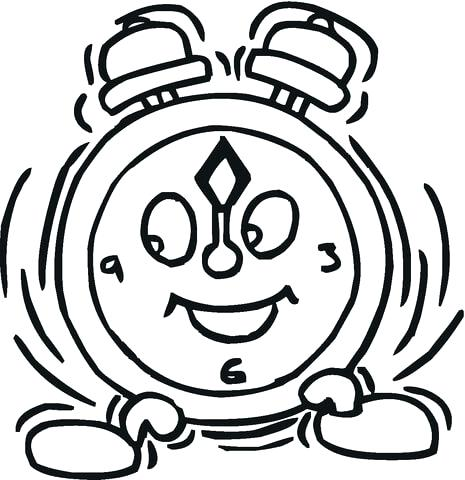 465x480 Clock Coloring Page Smiling Alarm Clock Coloring Page Grandfather