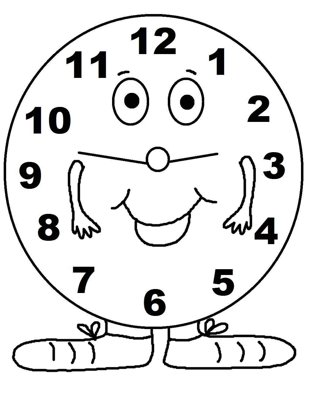 1019x1319 Clock Coloring Page