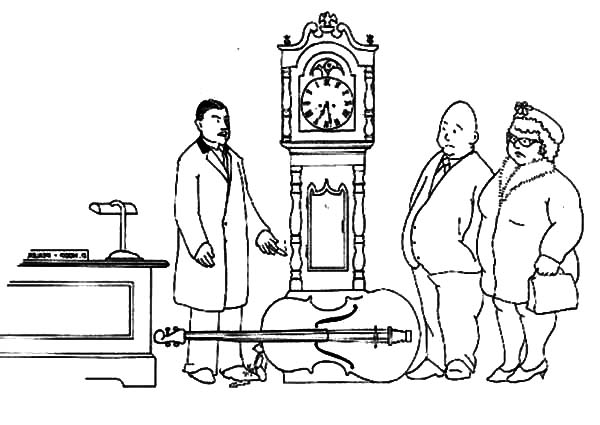 600x425 Grandfather Clock In Antique Store Coloring Pages Color Luna