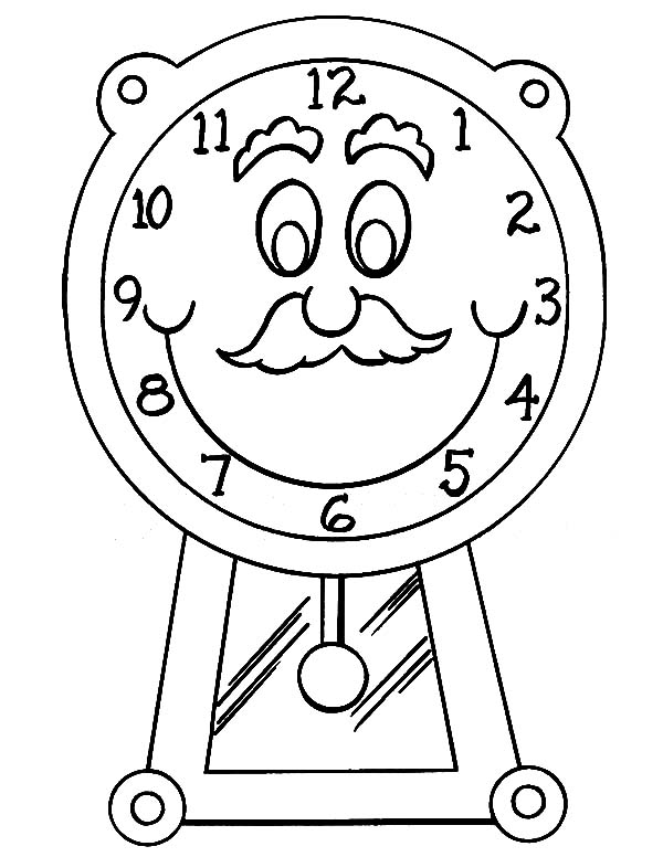 600x776 Grandfather With Mustache Clock Coloring Pages Best Place To Color