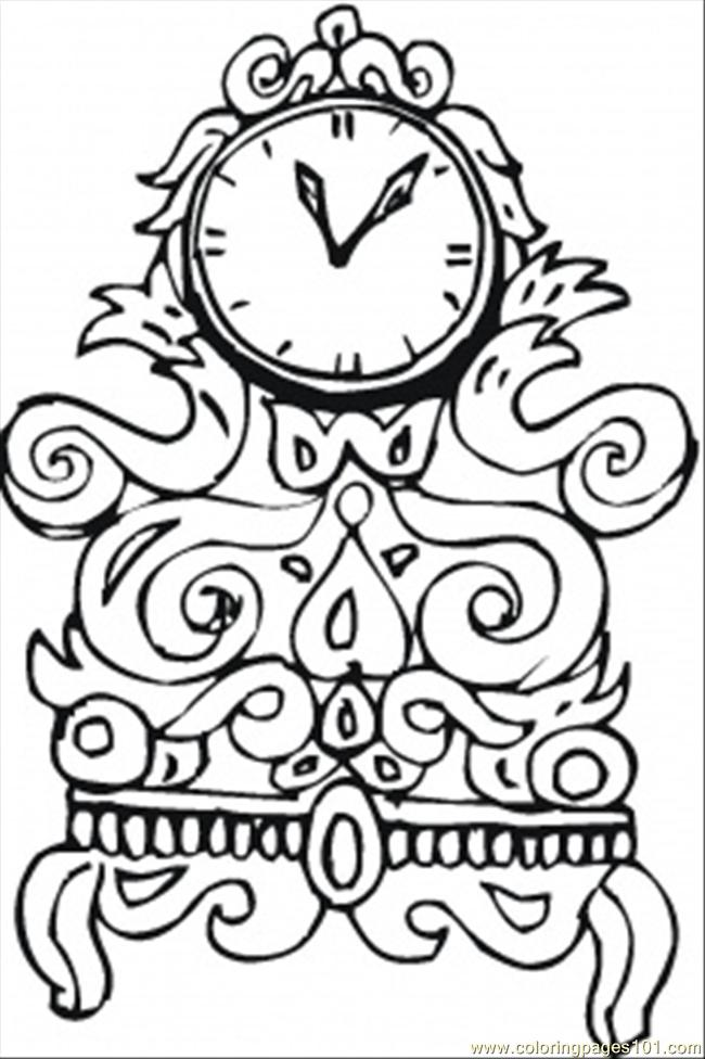 650x976 Nice Old Clock Coloring Page