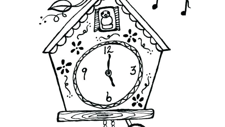 750x425 Clock Coloring Page Clock Coloring Page Cuckoo Clock Coloring Page