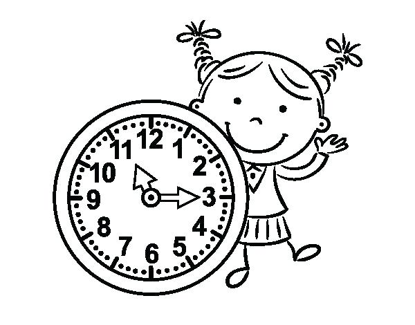 600x470 Clock Coloring Page Clock Coloring Page Girl With Clock Coloring