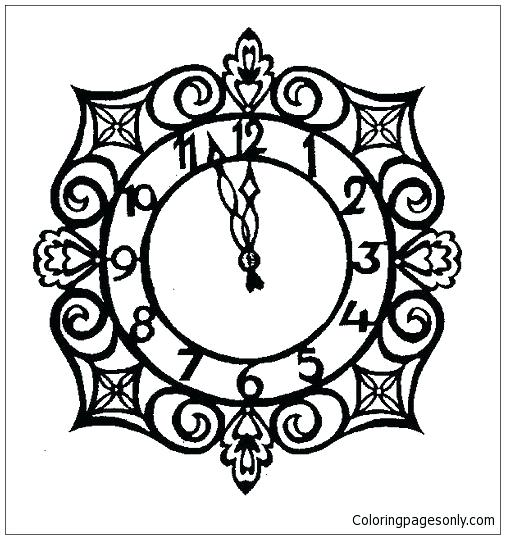 505x539 Clock Coloring Page Clock Coloring Page Grandfather Clock Coloring
