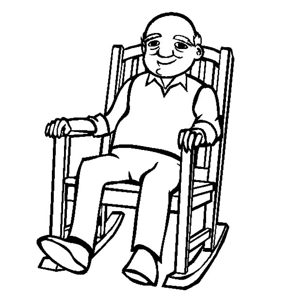600x612 Grandfather Sitting Rocking Chair Coloring Pages Color Luna