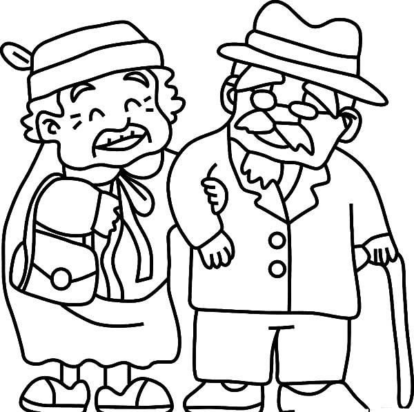 600x597 Grandfather Take Grandma To Walk Coloring Pages Color Luna