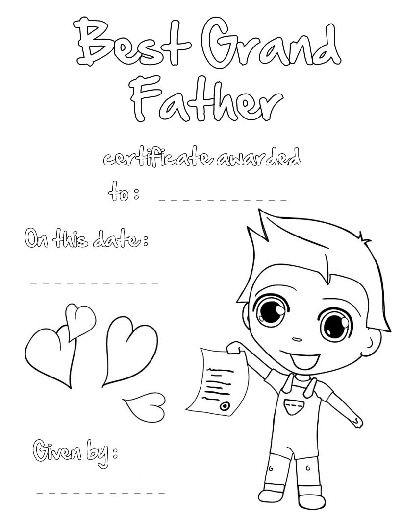 820x1060 Best Grandfather Certificate Coloring Pages