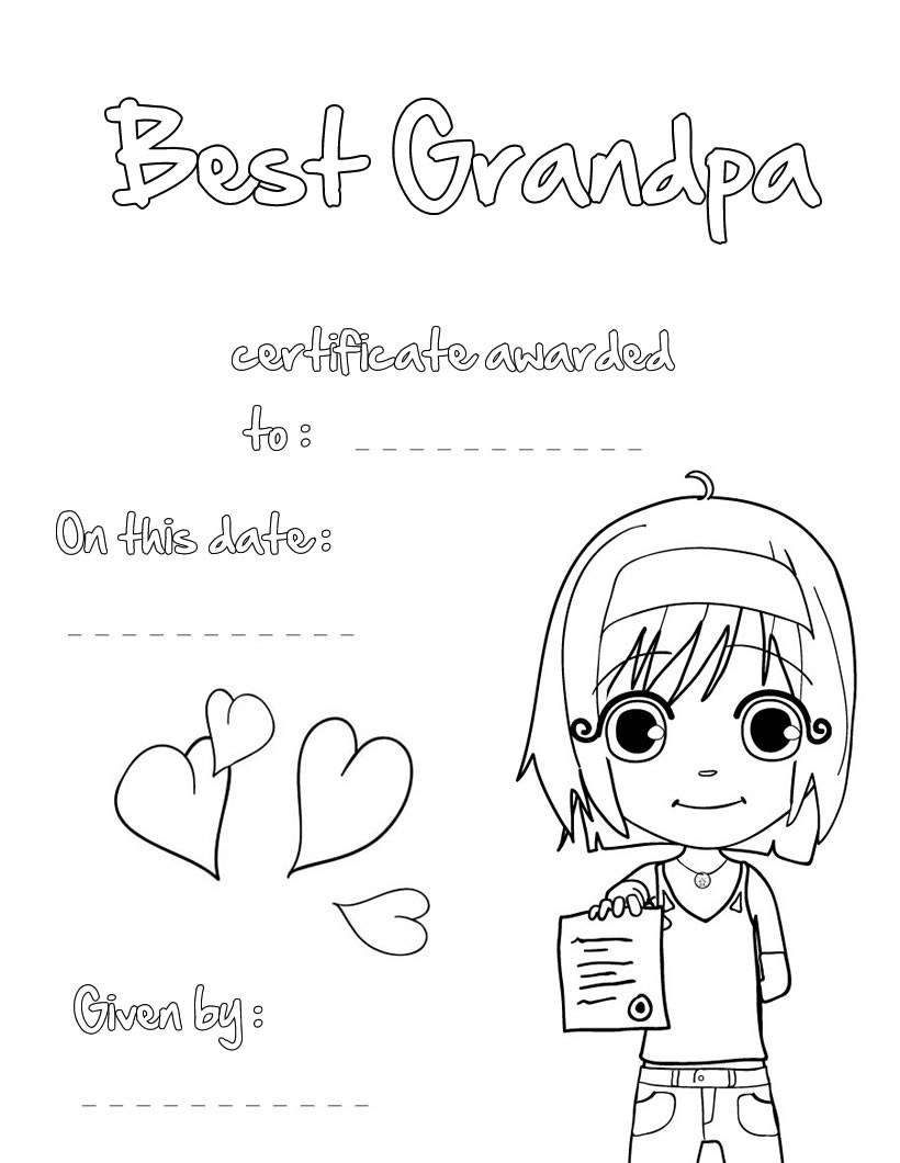 820x1060 Best Grandpa Certificate Coloring Pages