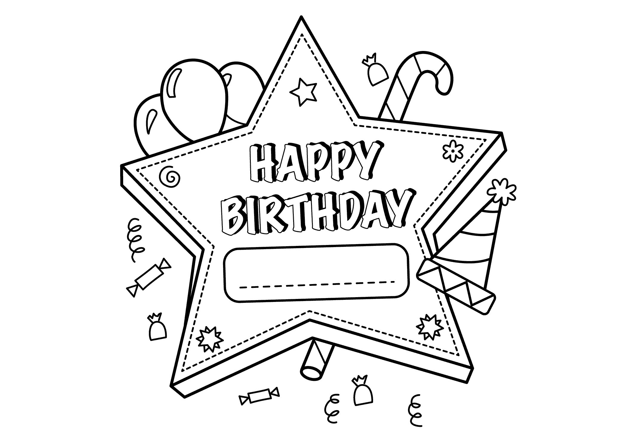 2079x1483 Happy Birthday Coloring Pages Free Printable Happy Birthday