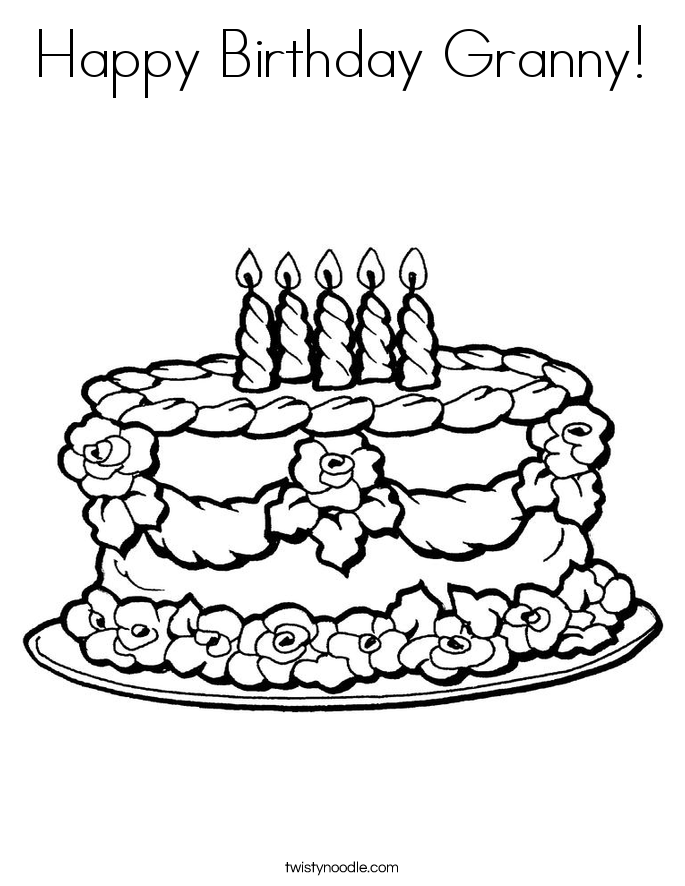 685x886 Happy Birthday Granny Coloring Page