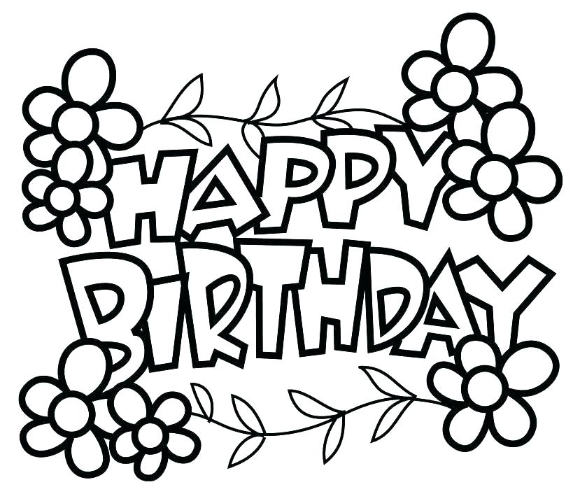 839x706 Coloring Pages For Birthday Happy Birthday Grandma Coloring Page