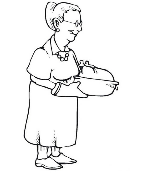 600x735 Grandma Famous Turkey On Gran Parents Day Coloring Page