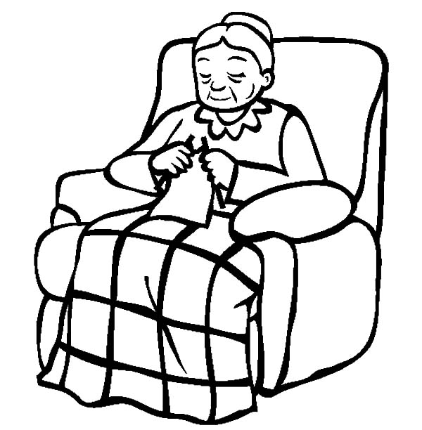 600x612 Grandmother Sitting On Her Lazy Chair Coloring Pages Color Luna