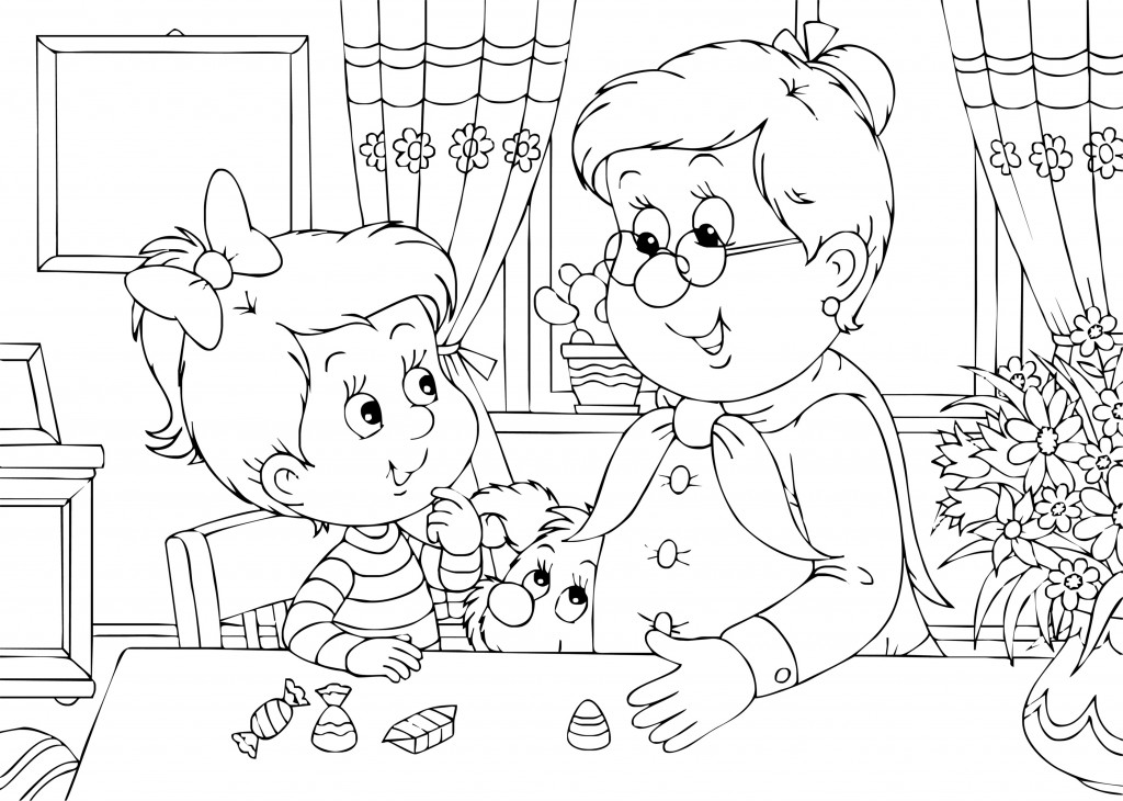 1024x730 Grandma And Me Coloring Page For Grandparent's Day Grandparent