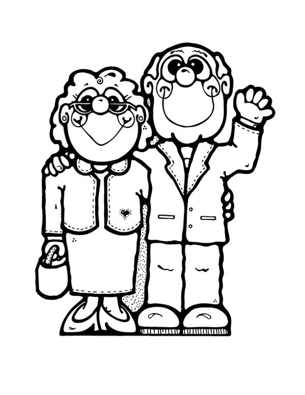 600x776 Parents And Grandparents Coloring Page