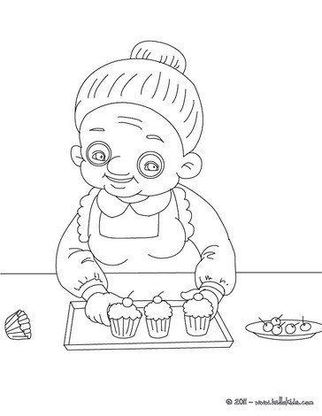 Granny Coloring Pages