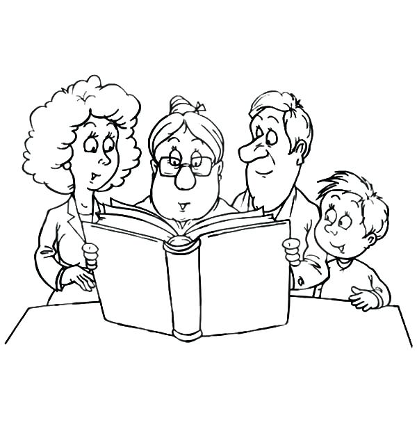 600x627 Family Coloring Page Granny Reading A Story To A Joint Family
