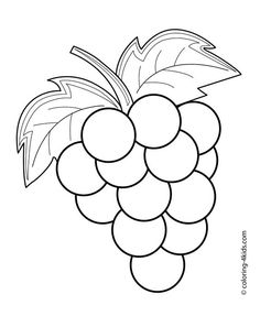 236x287 Grapes Coloring Pages Printing, Template And Embroidery