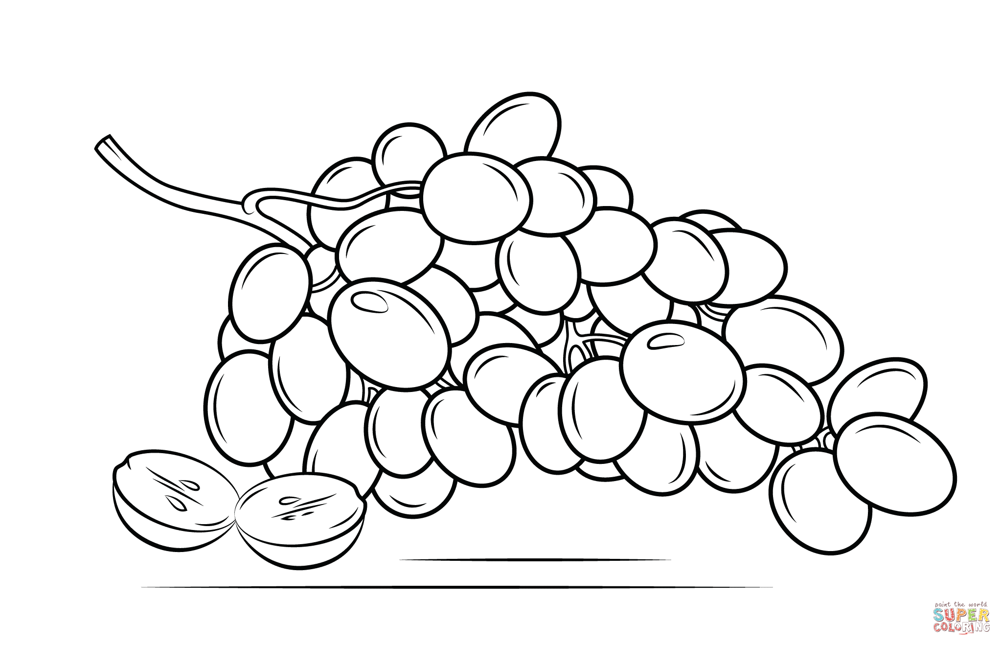2046x1318 Grapes Coloring Page